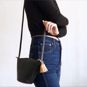 NWT Black Vegan Leather Mini Tassel Crossbody Bag